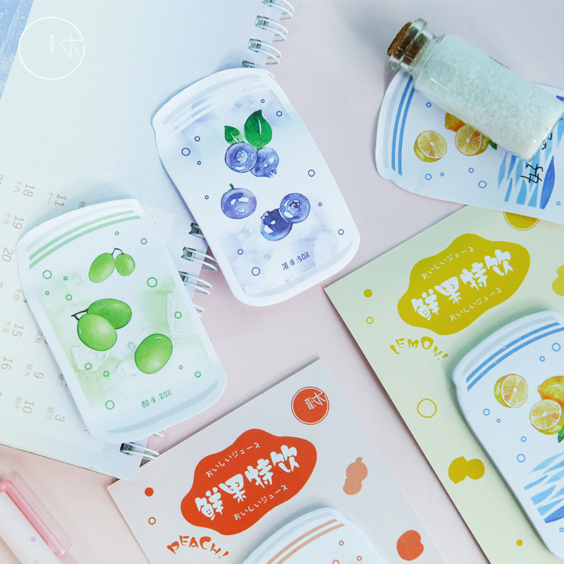 1Sets/lot Memo Pads Sticky Notes Creative Fresh Fruit Special Drink Scrapbooking Stickers Office School Stationery
