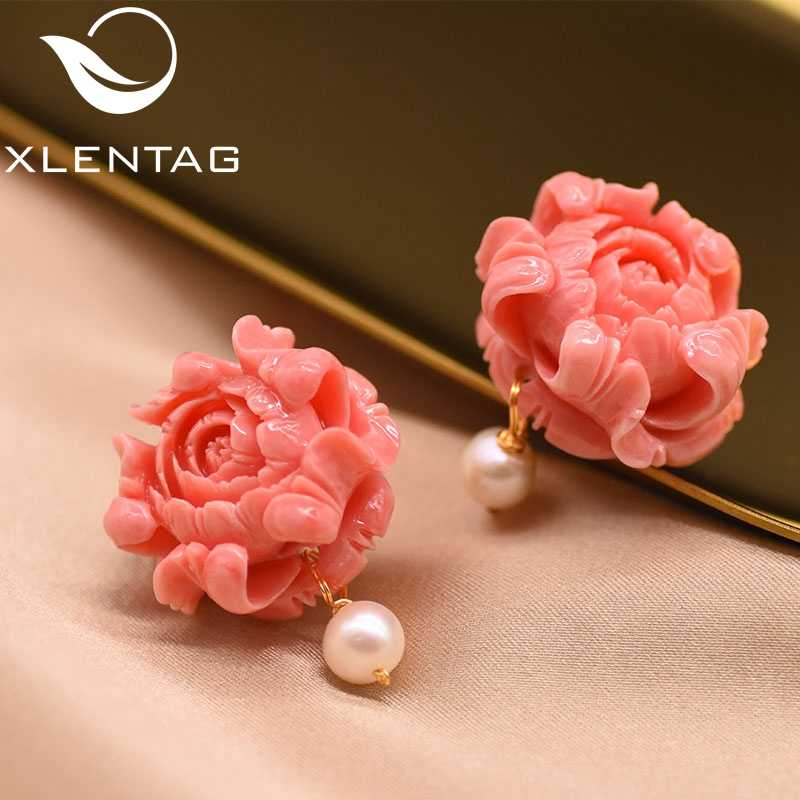 XlentAg Coral Powder Stud Earrings For Women Natural Fresh Water White Pearl Earrings Luxury Fine Jewelry Aretes De Mujer GE0412