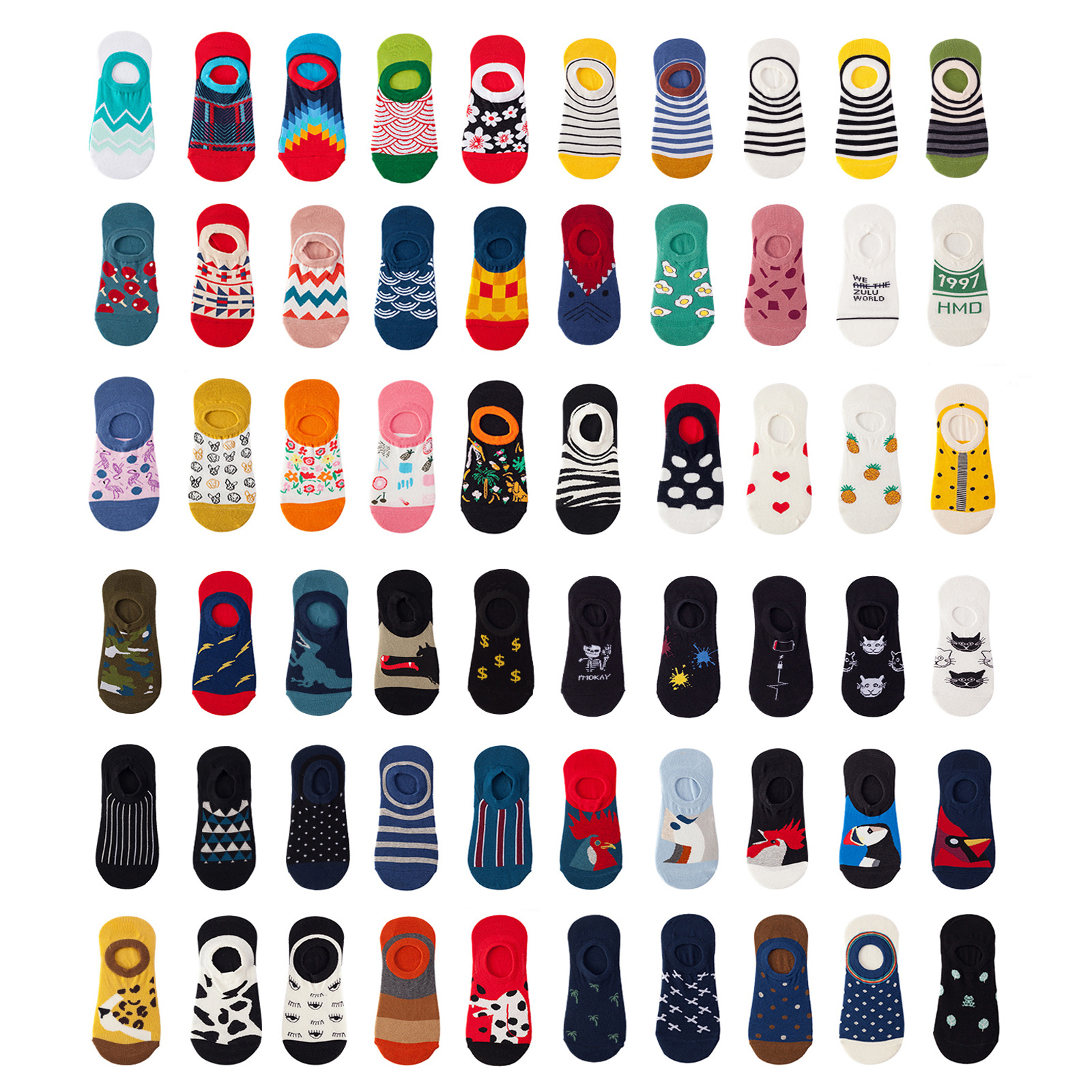 50 Style Summer Korea Socks Men Cartoon Wavy Striped Flower Dot Cat Socks Cute Animal Funny Ankle Socks Cotton Invisible Socks