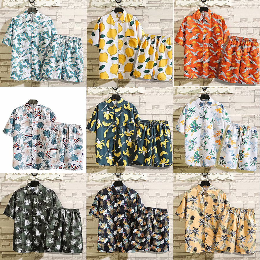 2020 Summer Men Sets Fashion Tropical Rain Forest Style Short Shirts+Leisure Sandy Beach Sports Shorts Combination Mens Sets