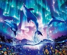 5D Diamond Painting Marine Scenic Dolphin Full Drill Round animal New DIY Cross Art Embroidery Underwater world simple Handmade