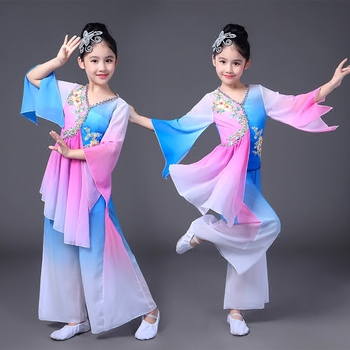 Girls Chinese style Hanfu national dance costumes Sleeve dance children's costumes classical dance Yangko clothing modern dance children s classical dance yangko dance costumes chinese style hanfu girls elegant costumes national dance fan dance costumes
