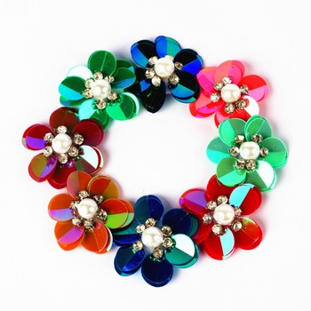 3cm Hair Accessories sequin 3d bunga Flower patch With rhinestones For baby Headband diy craft image
