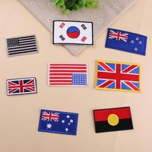 Flag series Patch for Clothing Embroidery United States the Flag British flag Korean flag Patches Jacket Applique Arm Badge(China)