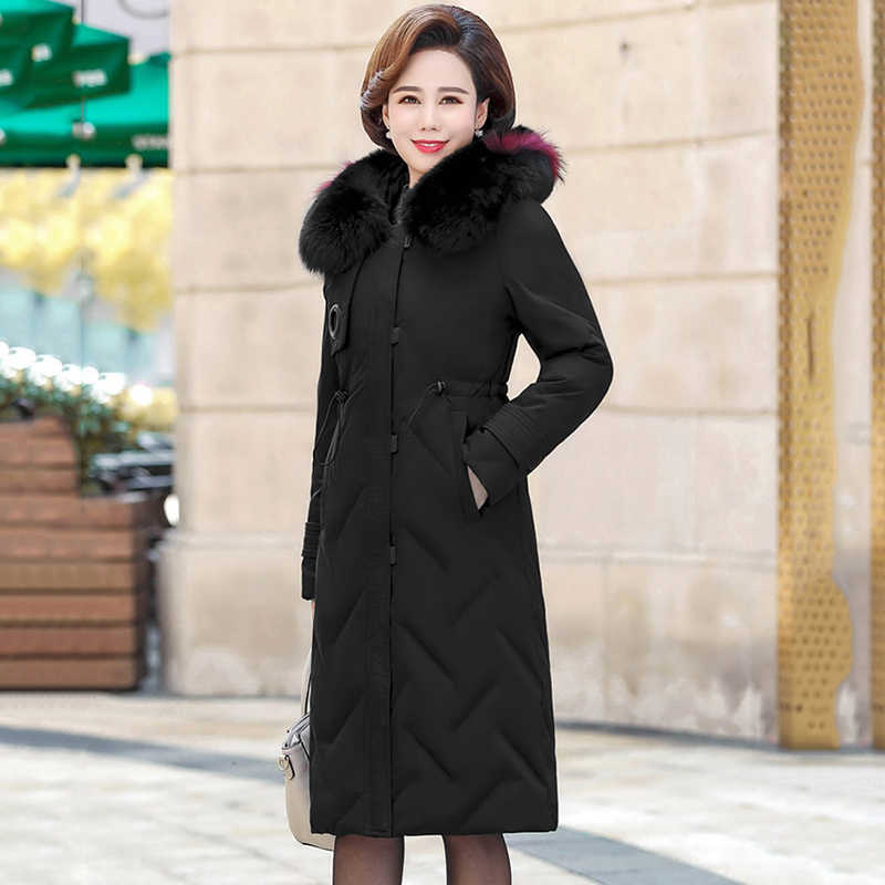 Winter Marke Mittleren Alters Frauen Unten baumwolle Jacke Mantel Mode Lose Echt pelz kragen Langen Mantel Weibliche Warme Starke Mit Kapuze Mantel