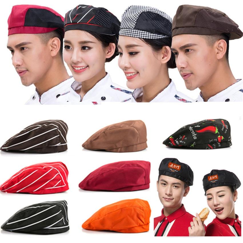10Color Chef Hat Restaurant Accessories Waiter Cook Food Service Breathable Mesh Work Clothes Men Uniform Kitchen Cap Berets
