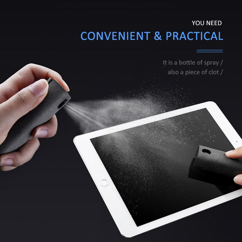 Newest 2 In 1 Phone Screen Cleaner Spray Computer Mobile Phone Screen Dust Removal Tool Microfiber Cloth Set Cleaning Artifact 2