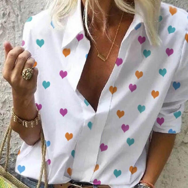 Fanbety Autumn Women Leisure Blouse Tops Women chain Print work office Blouse Shirt Lady Stylish Long Sleeve Blouses femmes 5XL