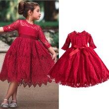 Рождественское кружевное платье принцессы для девочек с вышивкой, детские зимние платья с длинным рукавом, юбка-пачка с бантом, детские кос...