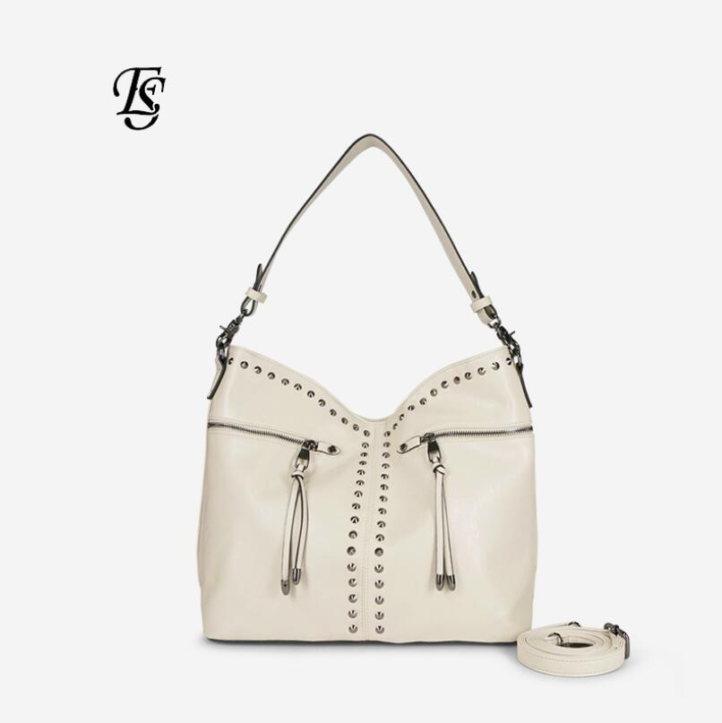 Hobo Rivet Large Capacity Shoulder Bags for Women 2019 High Quality PU Leather Hand Bags Ladies Chic Korean Style Tote Bags in Top Handle Bags from Luggage Bags