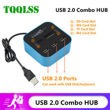 TQQLSS High Speed USB Hub 2.0 3 Port With Card Reader Mini Hub USB Combo All In One USB Splitter Adapter For PC Laptop Computer