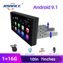 JMANCE Adjustable 1DIN FM 7 Inch Car Stereo Radio Android 9.1 Contact Screen 1080P Car Radio Player Quad-Core GPS Navigation
