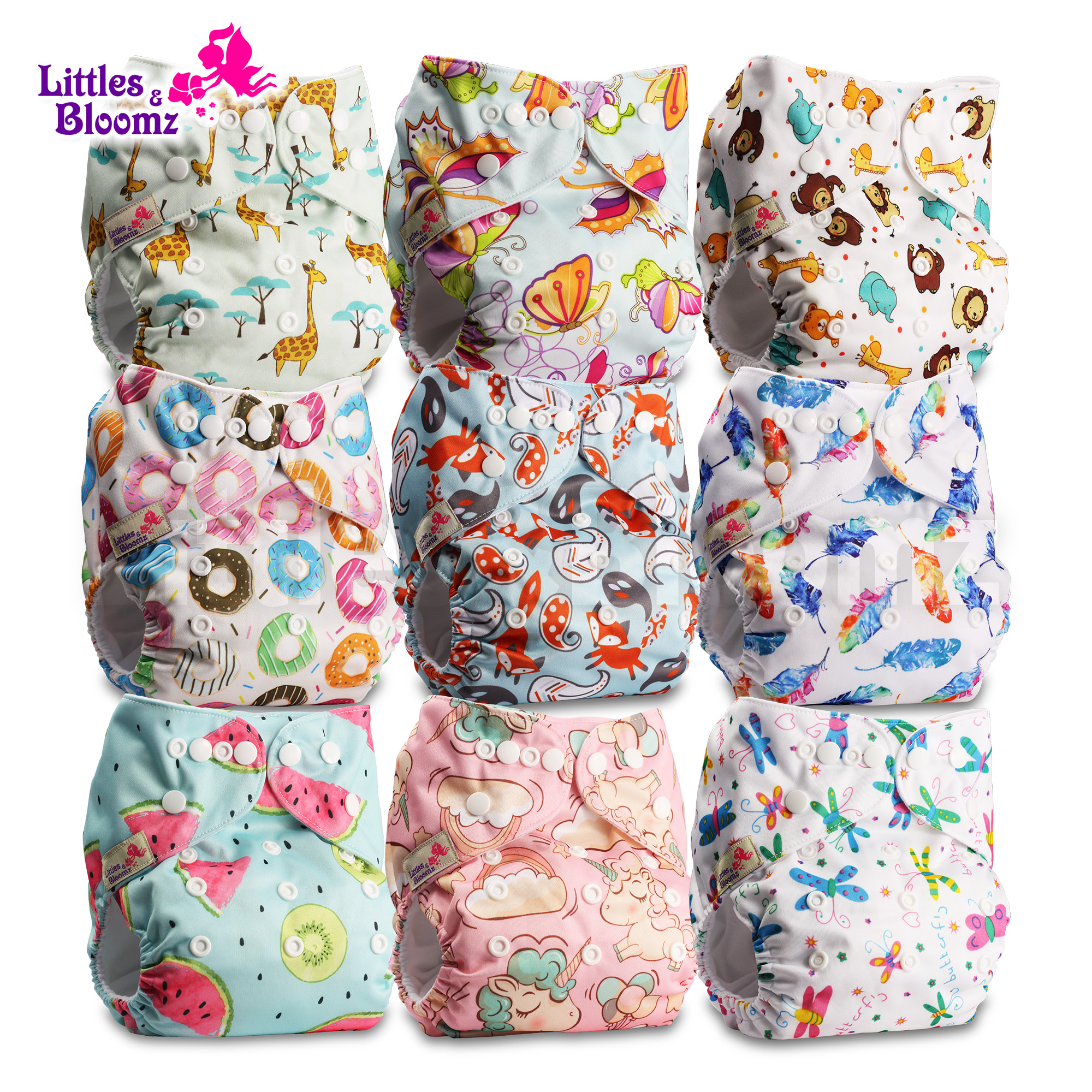 Littles /& Bloomz Pack of 20 Charcoal Reusable Cloth Nappy Inserts Booster