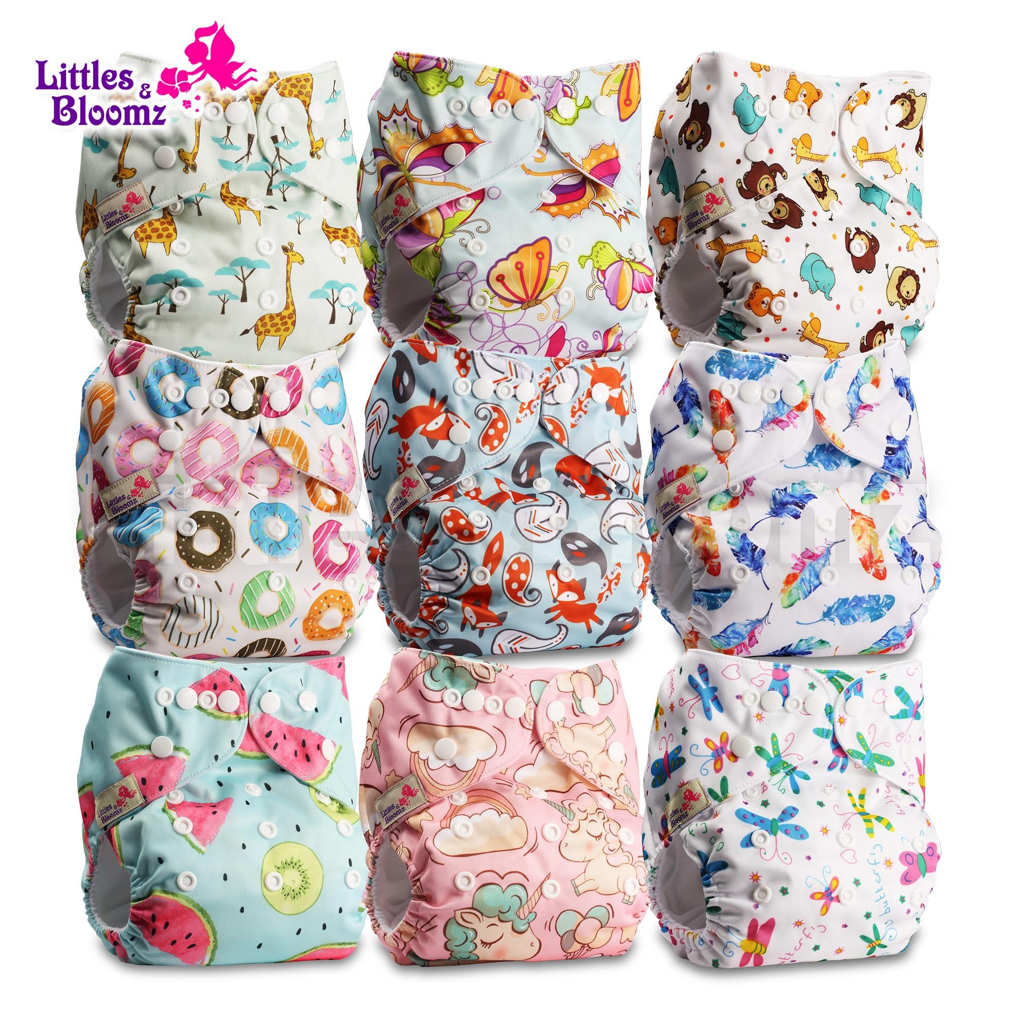 [Littles & Bloomz] 9 шт./компл. Детские Моющиеся Многоразовые настоящие тканевые Чехлы для подгузников, 9 подгузников/подгузников и 0 вставок в одном ...