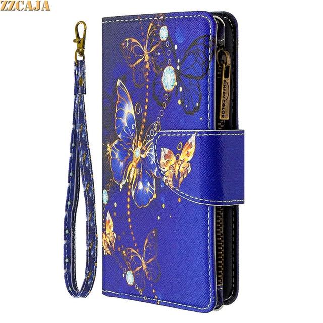 Zipper Case for Huawei P50 P40 Lite E P Smart 2021 2020 PSmart Z Nova 4E P40Pro Cover Leather Flip Card Slots Stand Wallet Strap