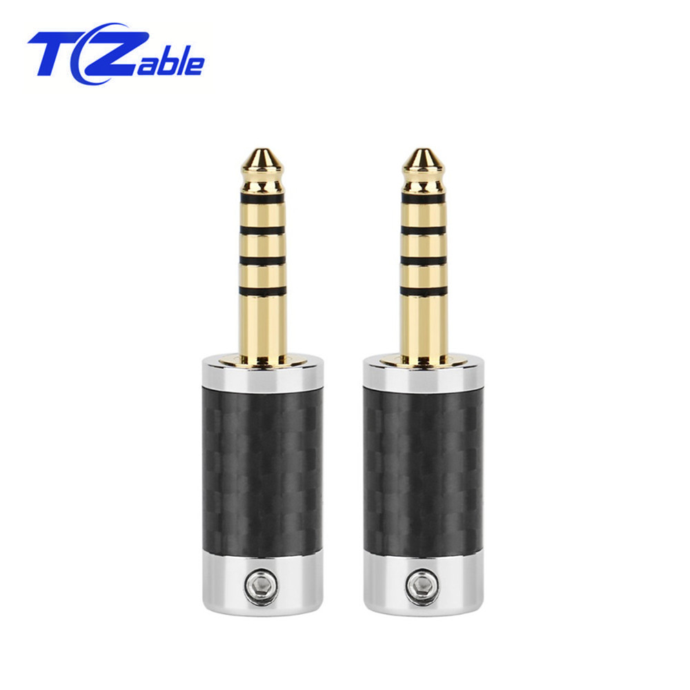 5PCS 4.4mm 5 Pole Audio Connector Stereo HIFI Headphone Cable Male Plug  Metal Splice Adapter Carbon Fiber Audio Jack