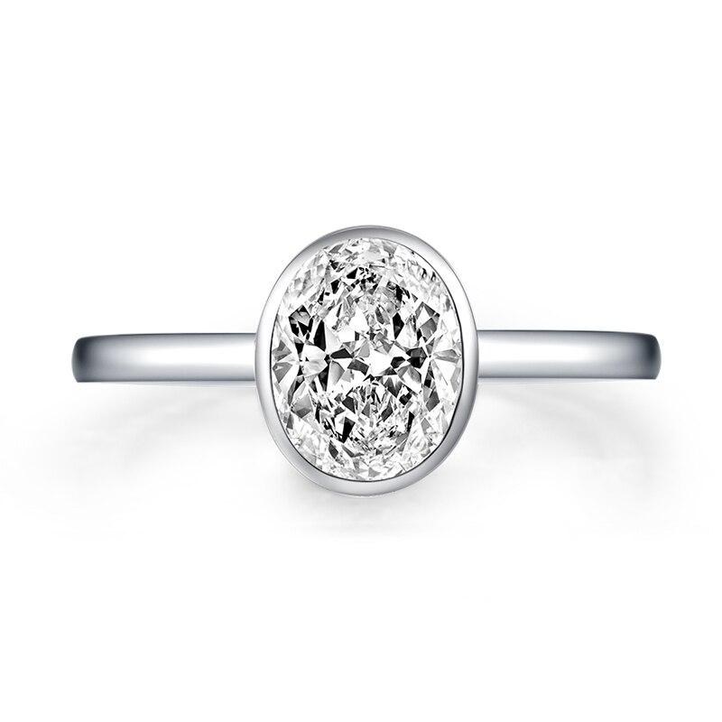 Bagues ovales en Argent Sterling 1.25 pour femmes, Bague de fiançailles, couleur or blanc, or Argent 925, bijoux pour femmes