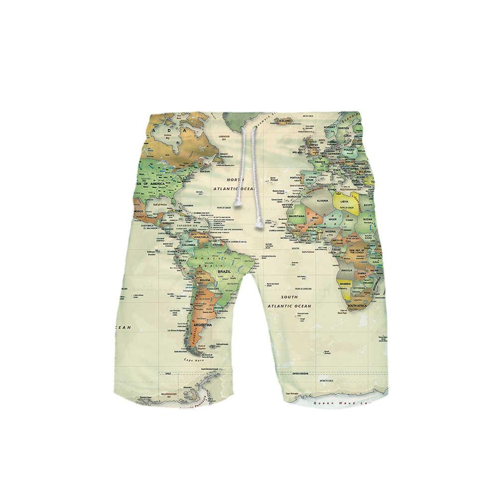 Casual Mappa Del Mondo Grafici 3D Shorts Pantaloni del Mens Delle Donne Unisex del Cotone di Estate di Abbigliamento Vintage di Grande Formato 5XL 6XL Hip Hop streetwear