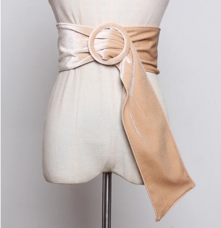 Women's Runway Fashion Faux Suede Leather Cummerbunds Female Dress Corsets Waistband Belts Decoration Wide Belt R2257