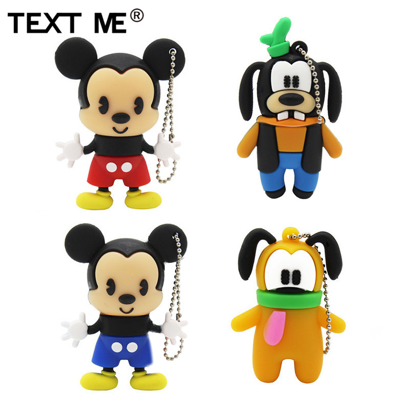 TEXT ME Cartoon Real Capacity Dog Mickey  Flash Drive Usb 2.0 4GB 8GB 16GB 32GB 64GB Pendrive