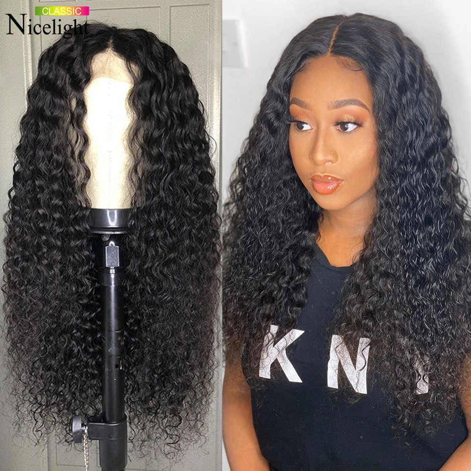 Peru Water Wave ludzkich włosów peruki 360 peruki typu Lace front Nicelight Remy włosy naturalne zamknięcie 4x4 peruka Glueless wstępnie oskubane dla kobiet