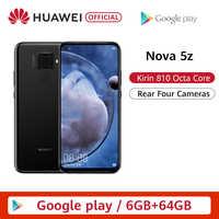 Original Huawei Nova 5z 6GB 64GB 128GB Smartphone Nova5z 48MP cámaras 32MP cámara frontal 6,26 pantalla completa Kirin 810 Android 9