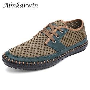 Image 1 - Wiosna lato 2020 oddychające buty z siatką mężczyźni dorywczo gorąca sprzedaż zasznurować Zapatos Hombre lekkie płaskie Plus Size buty 47s 48s