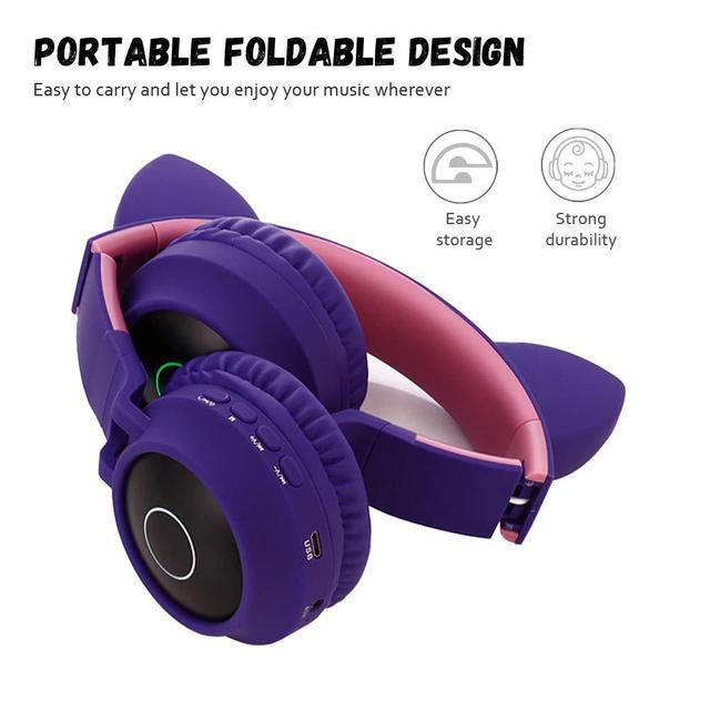 EastVita Bluetooth Stereo Earphone Cute Cat Ear Headphones Flashing Glowing headphones Gaming Headset Earphone LED light For PC