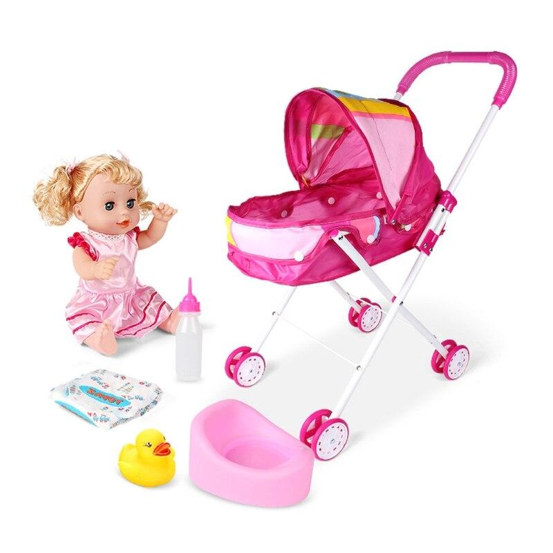 Cute Baby Stroller Trolley Doll for Toddler Pretend Play Toy Pram Pushchair Gift A2UB 9