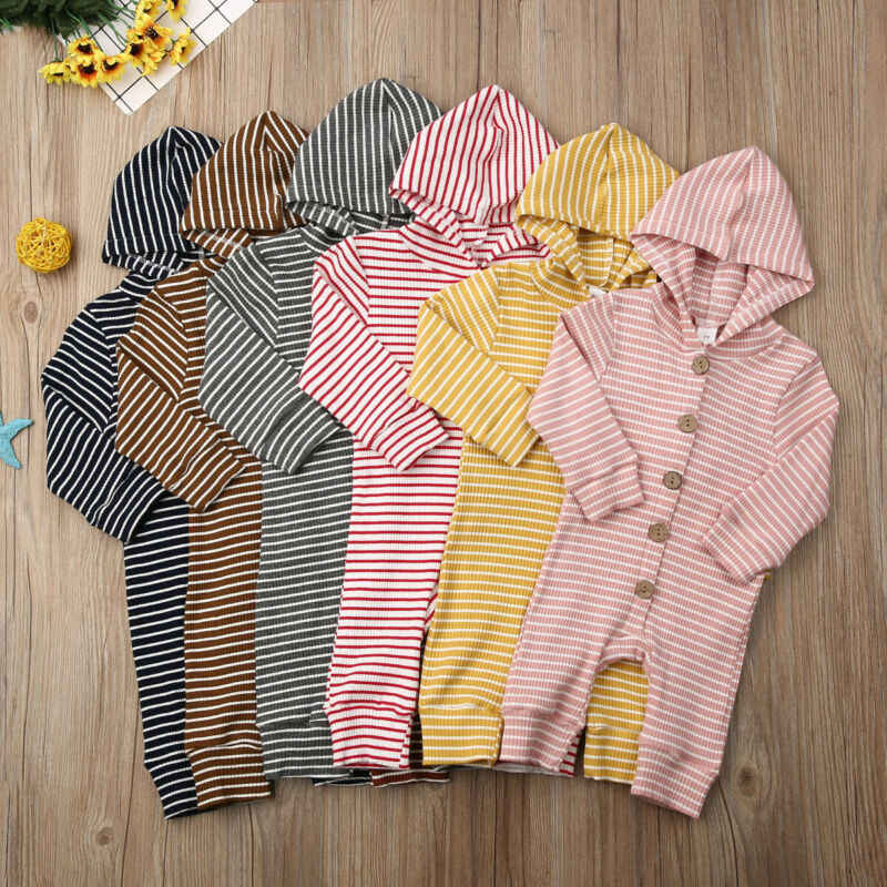Fall Newborn Baby Kids Boy Girl Autumn Winter Hooded Striped Romper Jumpsuit Clothes Casual Spring Outfits