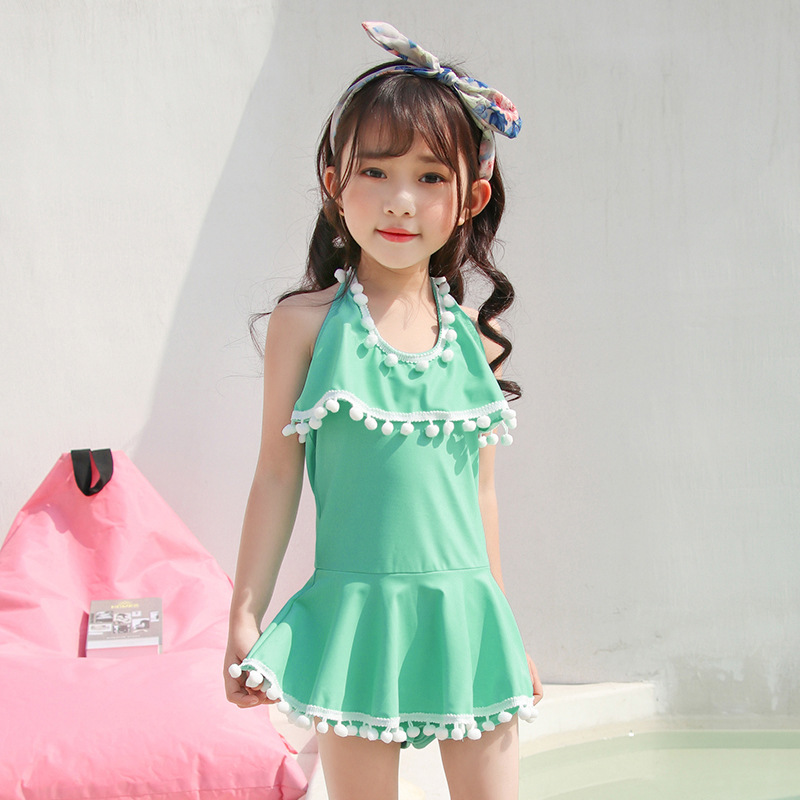 2019 New Style Hot Sales KID'S Swimwear Halter Solid Color Furry Ball Backless Dress Triangle Small CHILDREN'S GIRL'S Swimsuit