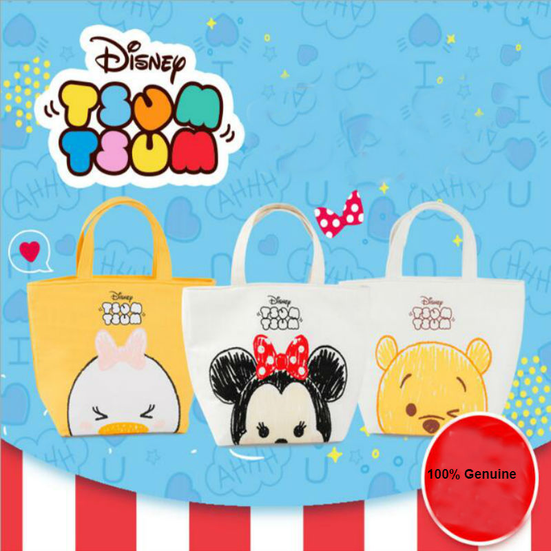 28cm Genuine Disney Waterproof Lunch Minnie Winnie Daisy Canvas Bag Handbags Children Toy Kids Toys Birthday Christmas Gift