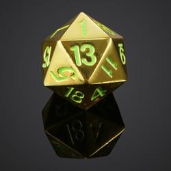 Dados que brillan en la oscuridad D20 Metal dados poliédricos para juegos RPG DND MTG, 22mm
