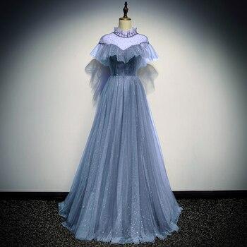 Elegant Mesh Halter Lady Qipao Evening Party Gown Exquisite Bling Sequins Formal Party Prom Dress Full Length Vestidos De Festa