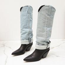 2020 luksusowe kobiety projektant kolana wysokie buty do uda blok wysokie obcasy długie udo Pleaser kliny buty fajne Spike obcasy dżinsy buty tanie tanio HENGSCARYING Podkolanówki Szycia Stałe Dla dorosłych Zachodnia Mikrofibra Płótno Szpiczasty nosek Zima Fabric RUBBER