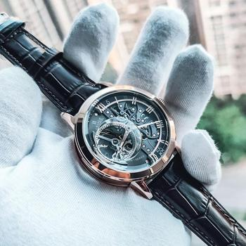 OBLVLO Casual Watches Mens Skeleton Dial Calfskin Leather Band Rose Gold Watches Automatic Watches for Men Montre Homme VM 1