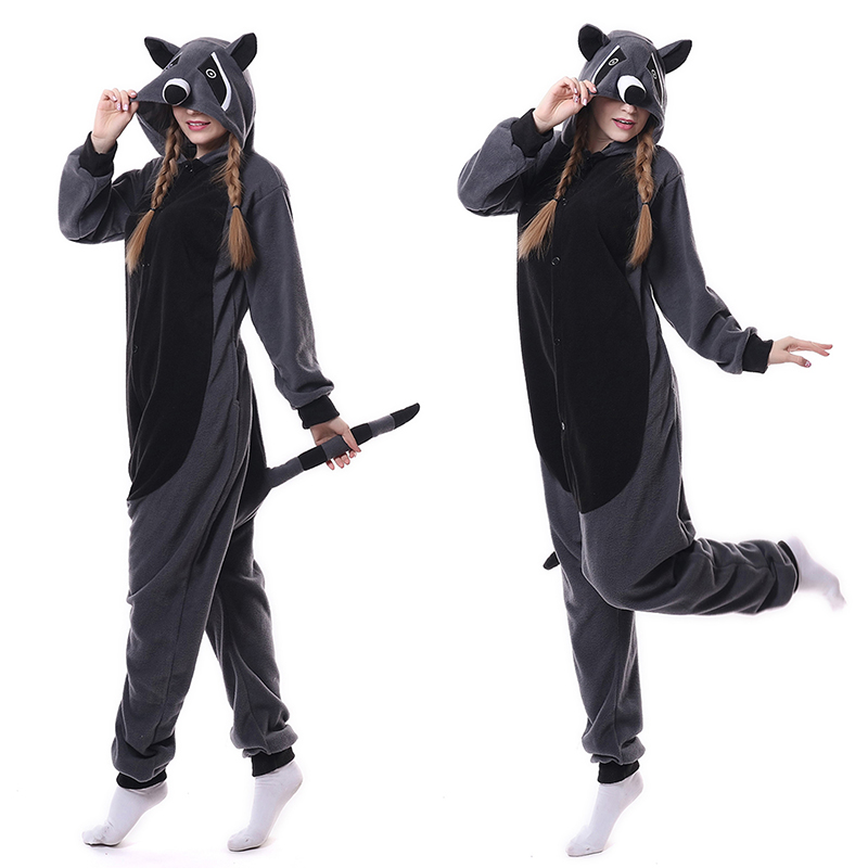 Animal Gray Raccoon Pajamas Onesie For Adult And Teens Cartoon Onesies One-piece Sleepwear Women Suits Cosplay Outfit
