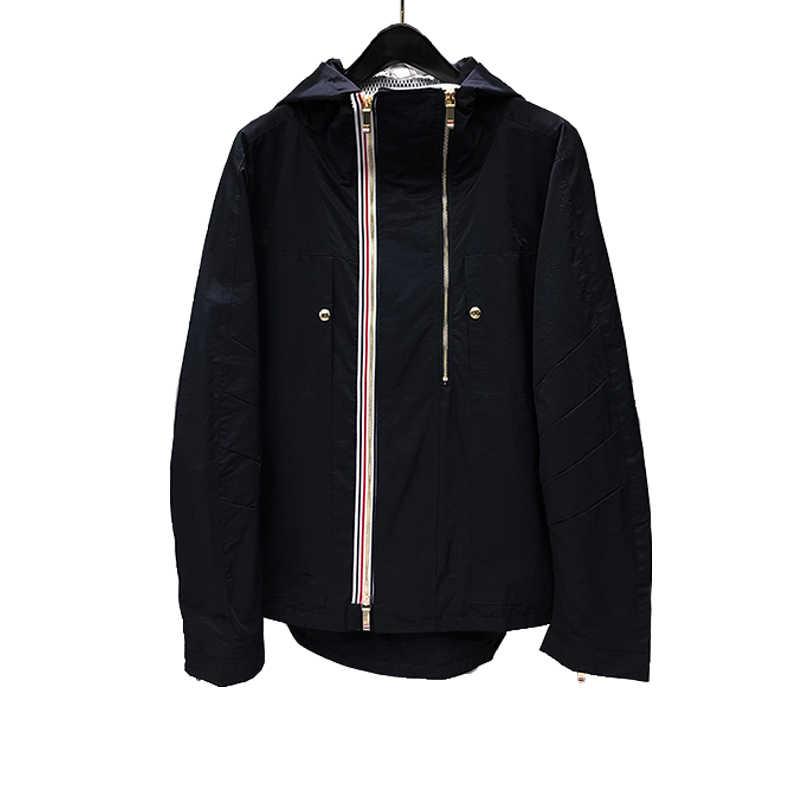 2020 แฟชั่น TB THOM ยี่ห้อชายเสื้อซิป Cardigans เสื้อผ้าฤดูใบไม้ผลิฤดูใบไม้ร่วง Hooded ลายหลวม Casual Coat กับ Nood