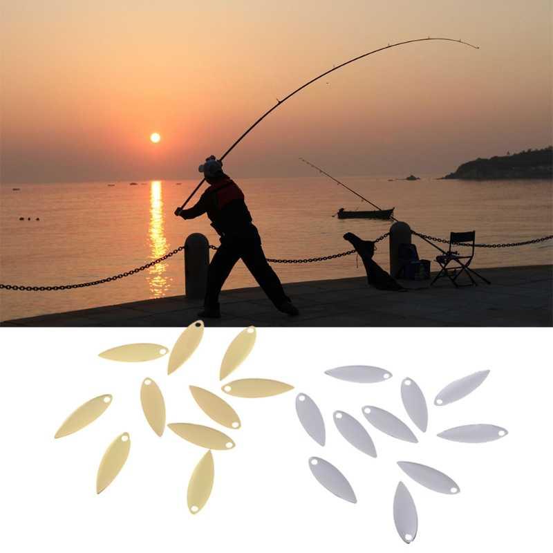 10 Pcs דיג נצנצים כסף זהב מתכת ספינר הפיתוי כף אביזרי Y51D