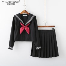 Uniforme JK de manga corta/larga para Escuela Japonesa, conjuntos de Sailor para niñas, Falda plisada, traje JK, color blanco y negro, para verano