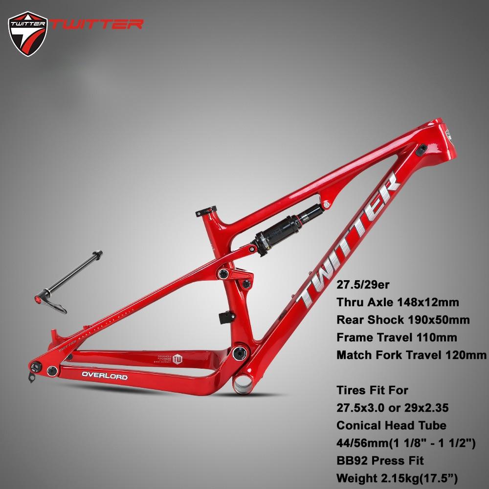 Mtb Overload Full Suspension Carbon Frame Cross-Count XC Fat Bike 12*148mm Rear Shock Absorber 190*50mm Tires 27.5*3.0 29*2.35