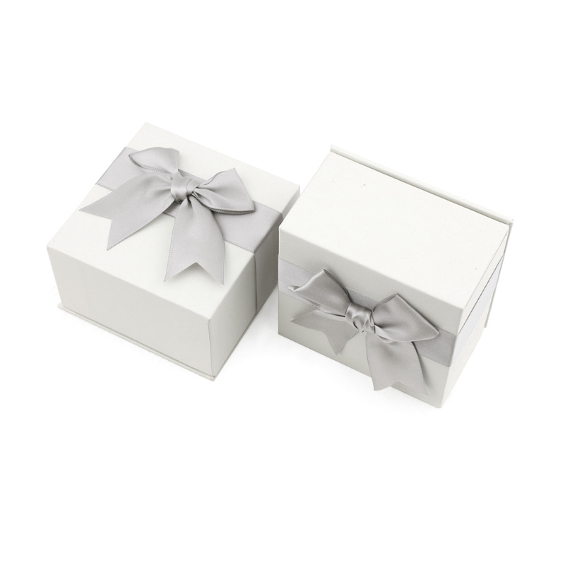 6*6*4.3 Bow Bowknot Cute Paper Square Jewelry Box Package GIft Case for Earrings Ring Necklace Fashion Jewelry