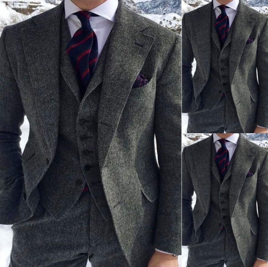 2020 Men's Wool Blend Grey Herringbone Wool Suits 3 Piece Notch Lapel Tweed Blend Vintage Peaky Blinder