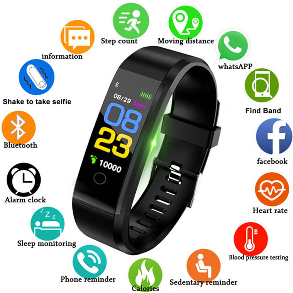 Smart Wristband Fitness Tracker 115P Watch Health Heart Rate Band Blood Pressure Waterproof Smart Bracelet Men Women Smartband