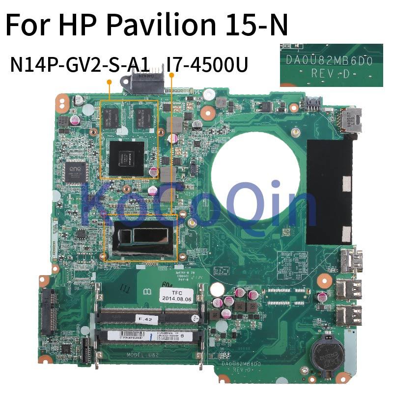 Motherboard para hp Laptop Pavilion 15-n005tx Mainboard Sr16z I7-4500u N14p-gv2-s-a1 Da0u82mb6d0 15'6 15-n
