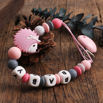 New baby Gift Silicone pacifier clips Binky Clip Dummy Clip Soother Teethe Toy Chain Bite Beads Cute Hedgehog Fit Girl Boy фото