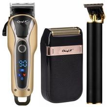 Cortadora de cabello eléctrica profesional para hombres, máquina de corte de pelo recargable con cuchilla en T de 0mm, Kit de afeitadora
