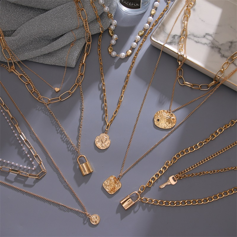 FNIO Vintage Multi Layered Women's Necklaces Pearl Round Coin Gold Necklaces Bohemia Fashion Long pendant Necklace 2020 Jewelry