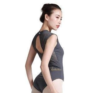 Image 4 - バレリーナ体操レオタード大人のためのバレエのレオタード女性スタンド襟セクシーなレースのボディスーツ Bailarina ダンスヨガレオタード