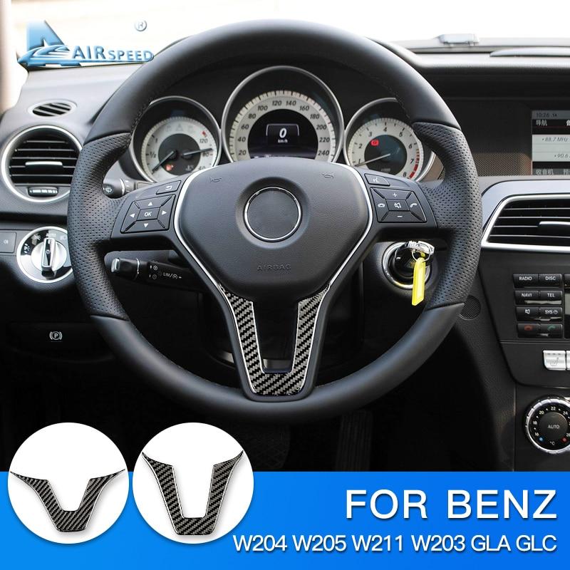 AIRSPEED For Mercedes Benz W204 W205 W211 W203 GLA GLC Sticker Accessories Carbon Fiber Interior Trim Car Steering Wheel Sticker